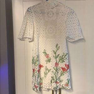 Zara eyelet, crochet, embroidered mini dress